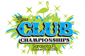 The logo for the 2012 USA Ultimate Club Championships in Sarasota, Florida.