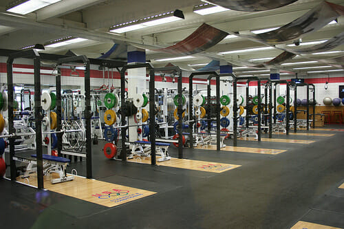 A fully stocked weight room.