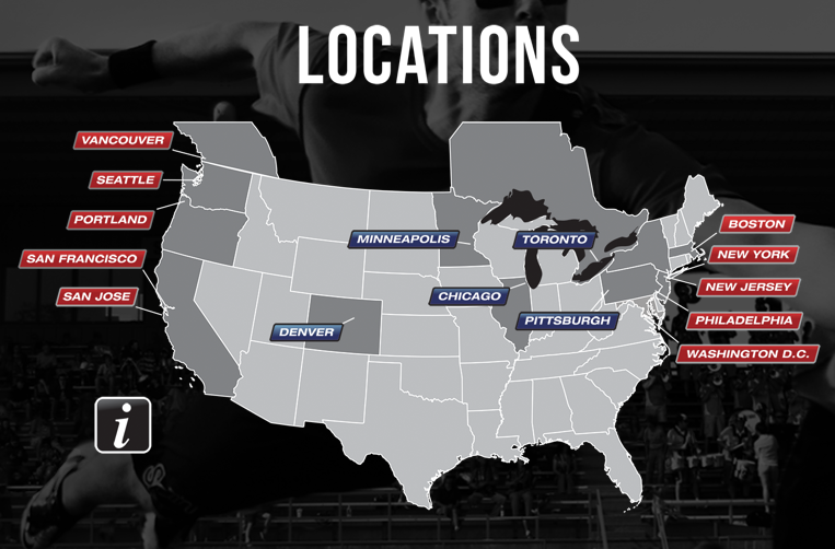 A map of the Major League Ultimate host cities.