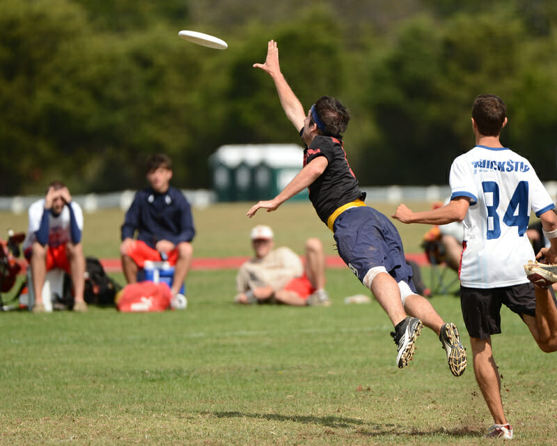 A Heva Havas player lays out for the disc against Truck Stop at the 2012 Mid-Atlantic Regionals