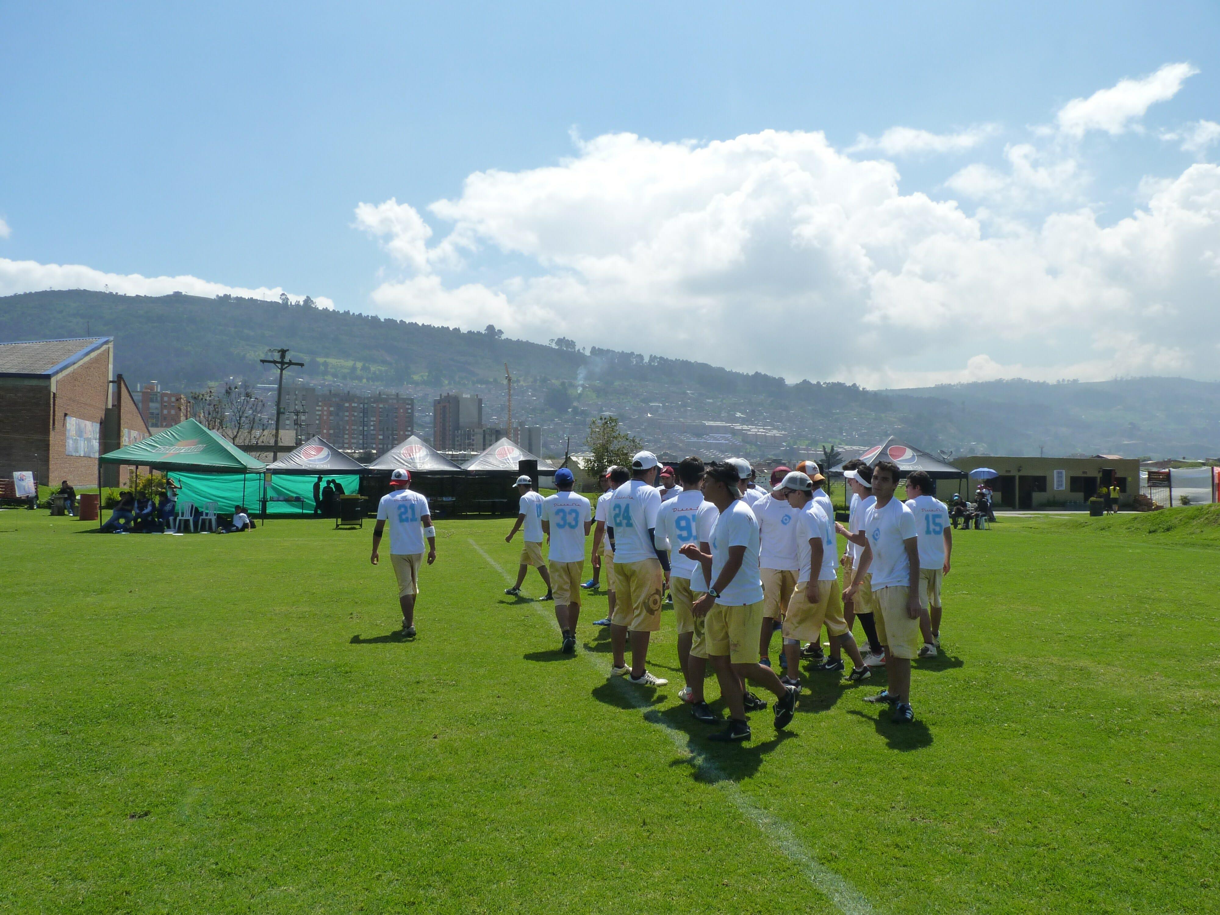 Disco Stu prepares to play on the beautiful Bogotá fields.