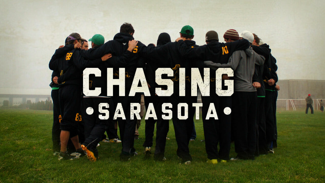 The main logo for Chasing Sarasota, a documentary about the elite Ultimate team Portland Rhino.