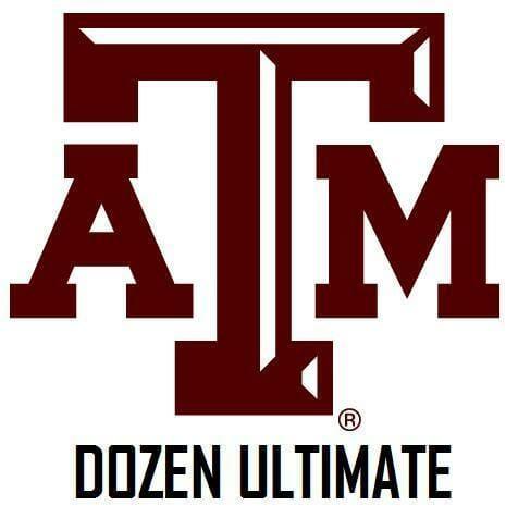The logo of Dozen Ultimate, Texas A&M's Ultimate Frisbee team.