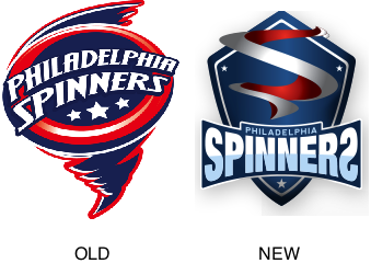 The old and new logos for the Philadelphia Spinners.