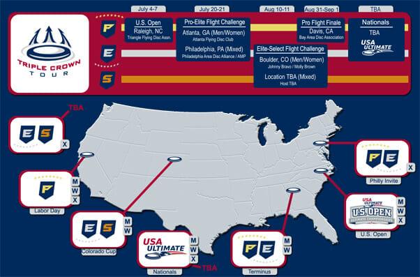 2012 Triple Crown Tour schedule map.