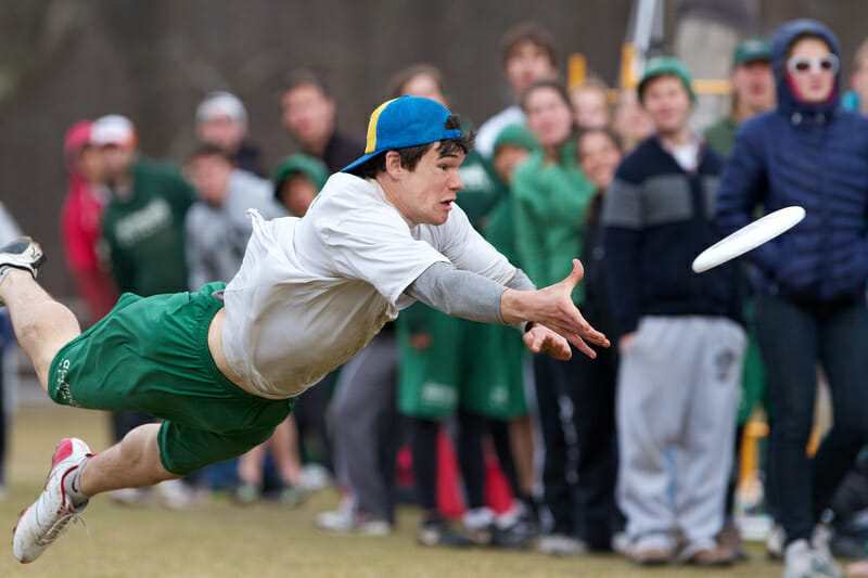 Dartmouth's Andrew Pillsbury lays out for the catch at the 2013 New England Open.