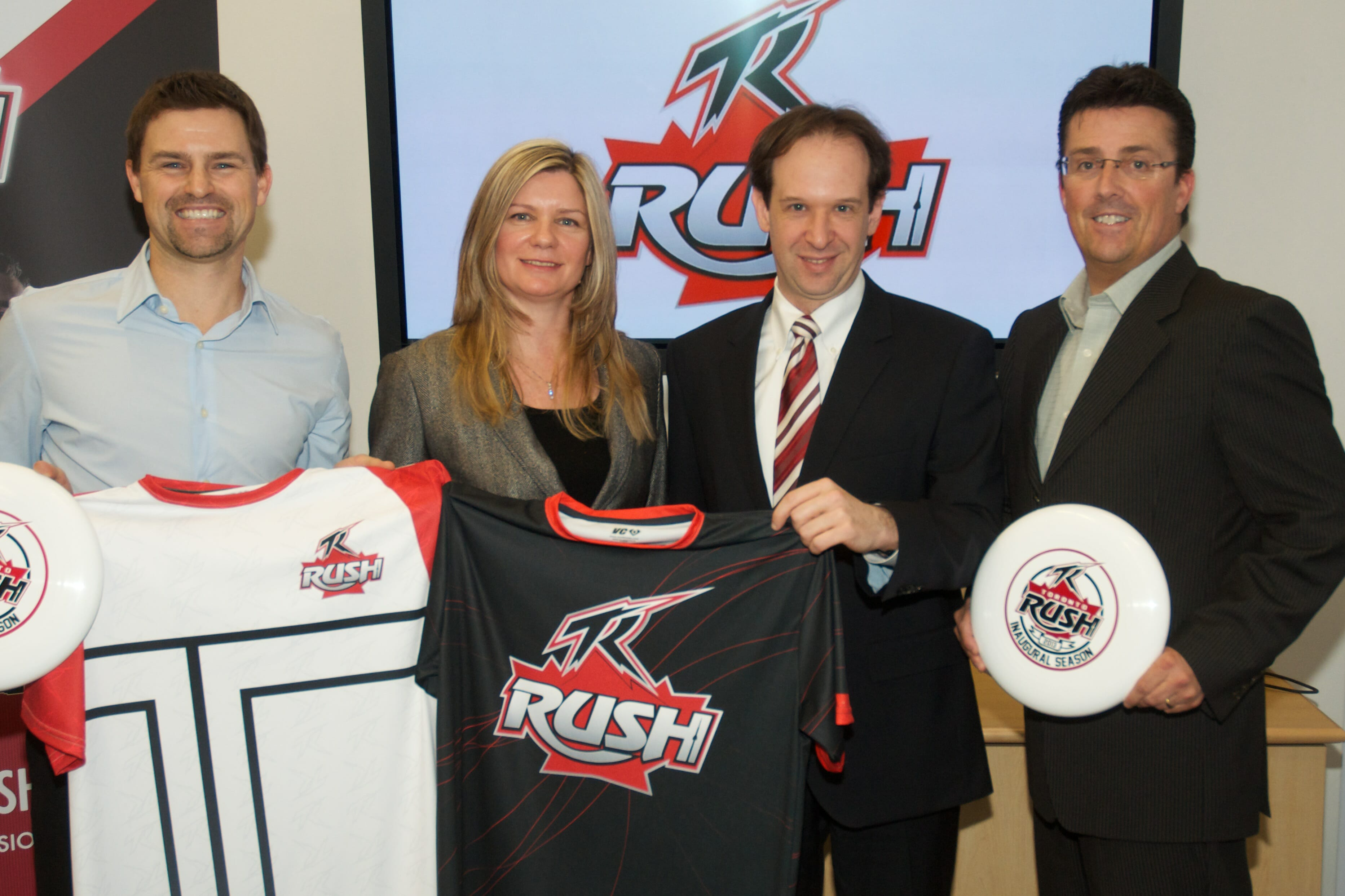 A picture of the Toronto Rush's press conference.