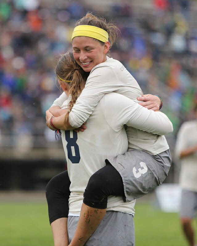 Carleton celebrates after clinching a spot in the D-I College Championship finals.