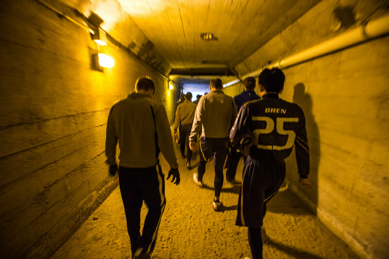 The San Francisco Dogfish walk down the tunnel onto the field at Kezar Stadium
