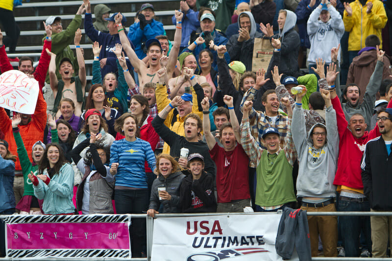 An excited crowd in Madison for the D-I College Championships.