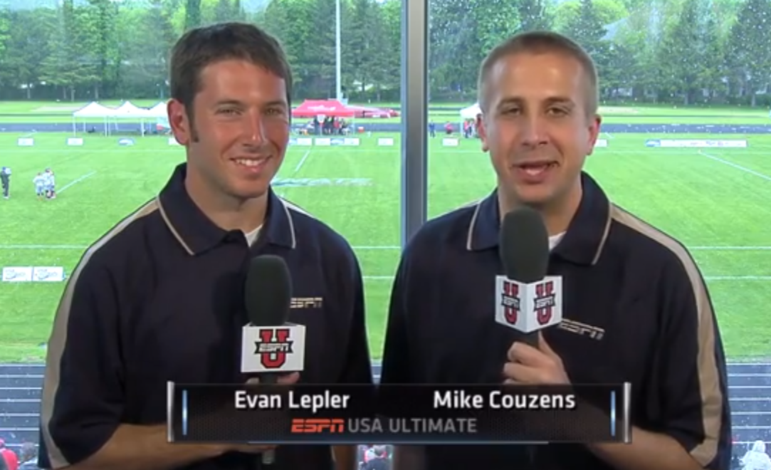 ESPN broadcasters Mike Couzens and Evan Lepler.