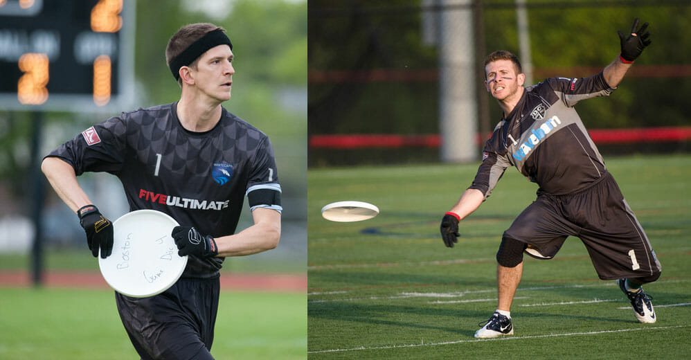 Josh Markette (Boston Whitecaps) and Daniel Kantor (DC Current) prepare to face off in the Major League Ultimate Eastern Conference finals.