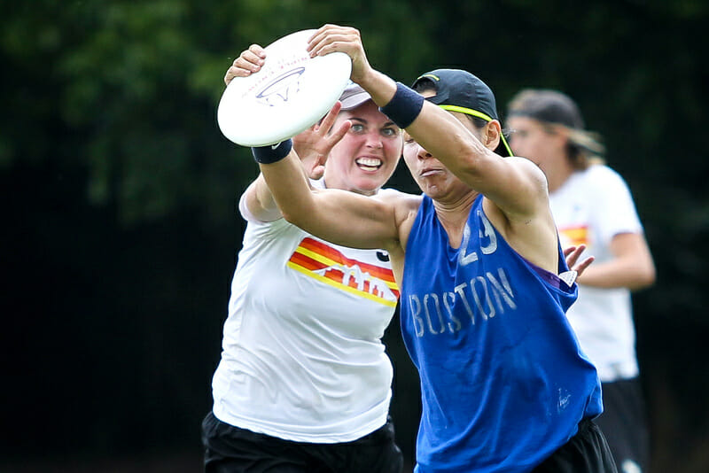 A Boston Brute Squad player catches the disc at Terminus.
