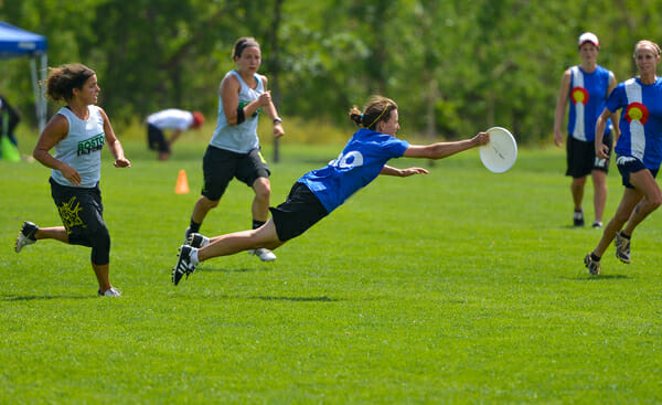 A Molly Brown's player lays out against Brute Squad at the 2013 Colorado Cup.