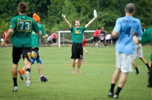 Portland Rhino's Dylan Freechild celebrates a goal at 2013 Terminus.