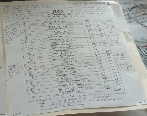 Mike Couzens' Fury roster, annotated.