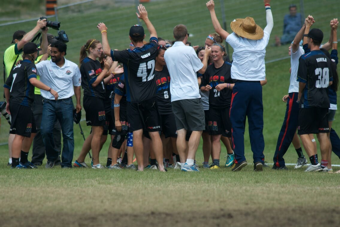 The Team USA Women celebrate after beating Japan in the Finals of the U23 World Championships.