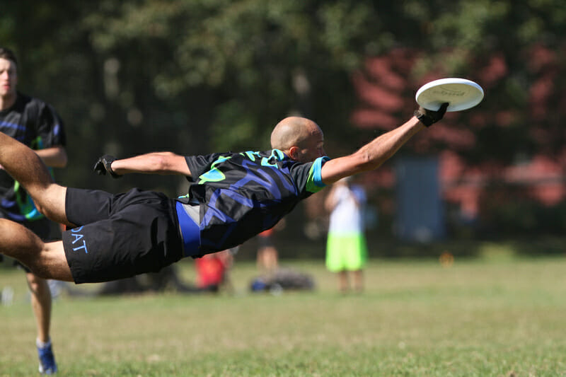 Toronto GOAT's Anatoly Vasilyev lays out for the catch block.