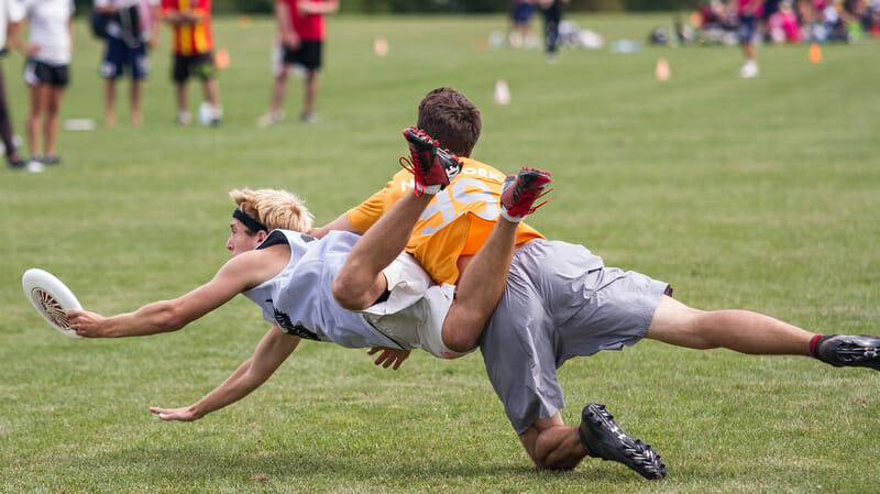 A Night's Watch player grabs the disc past a bidding Youngbloods defender.