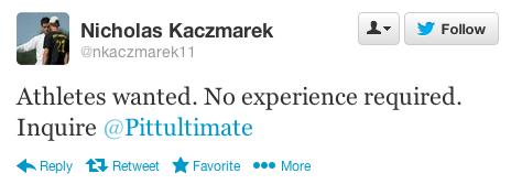 Pittsburgh coach Nick Kaczmarek's recruitment tweet.