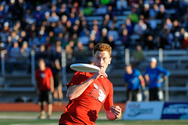 Sockeye's Phil Murray tracks a disc at the 2013 Club Championships.