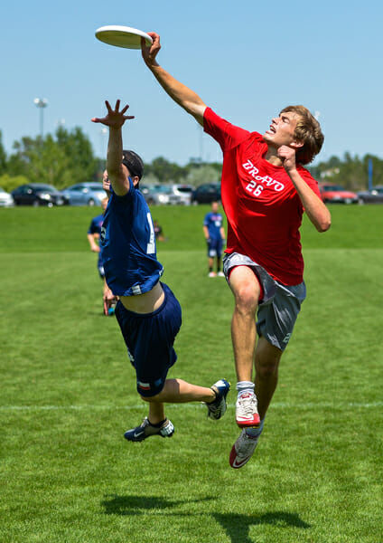 Owen Westbrook, #26 of Johnny Bravo, makes a leaping catch for the score.