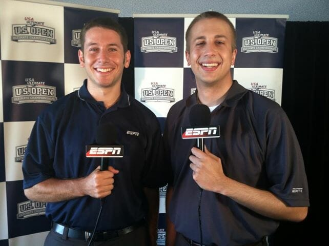 Mike Couzens (right) and Evan Lepler broadcasting at the 2013 US Open.