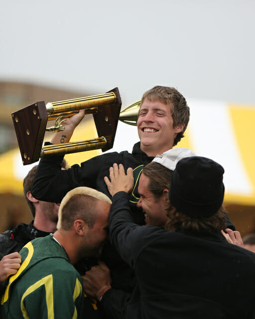 Oregon Ego's Dylan Freechild gets lifted up by teammates after winning the 2013 Callahan award.