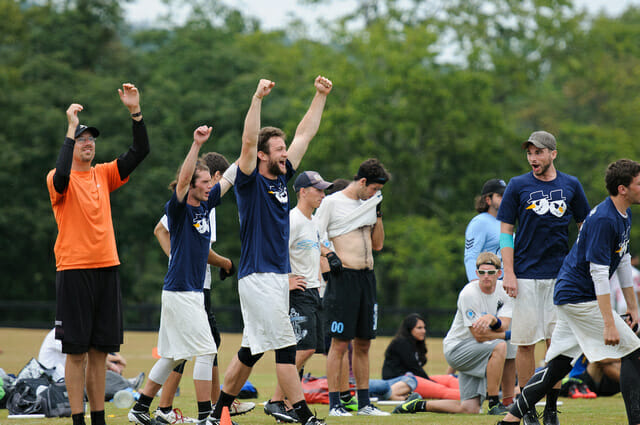 Nick Stuart (center) and his Minneapolis Sub Zero teammates celebrate a victory over Boston Ironside in the finals of the 2013 Chesapeake Invite. Photo: Kevin Leclaire, UltiPhotos.com