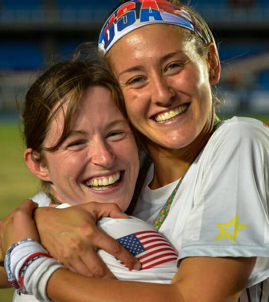 """Sarah """"Surge"""" Griffith and Cree Howard at the 2013 World Games."""