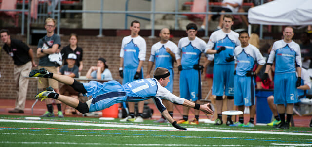 Boston Whitecaps' Jeff Graham makes the play of the game in their 2013 Major League Ultimate Championship victory. Photo: Kevin Leclaire -- UltiPhotos.com