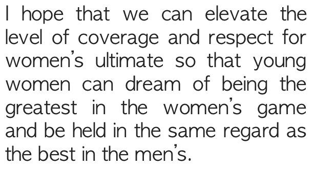 Emily Baecher on Women's Ultimate.