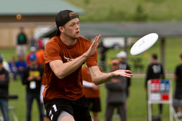 Texas' Will Driscoll catches a pass at the 2013 College Championships