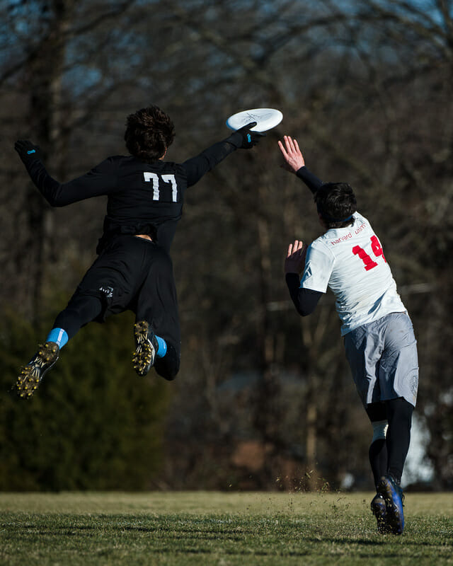 Ben Snell lays out past John Stubbs for the block in the 2014 Queen City Tune Up finals.