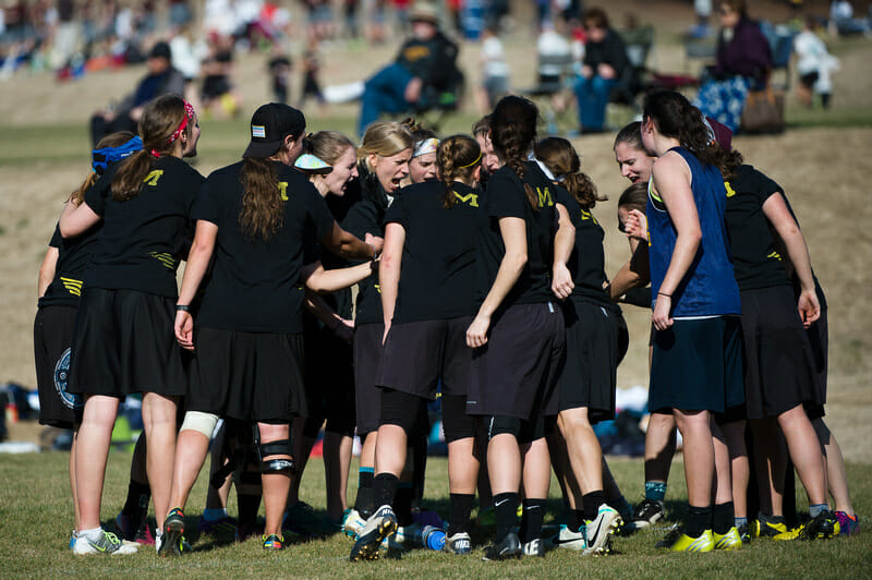 Michigan huddles up at the 2014 Queen City Tune Up.