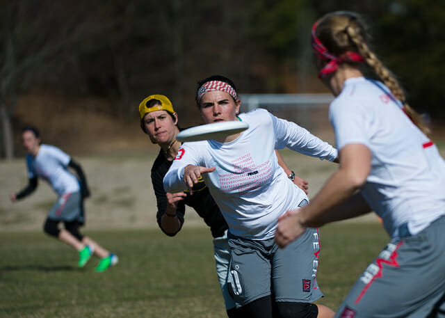 Ohio State Fever advances the disc at the 2014 Queen City Tune Up.