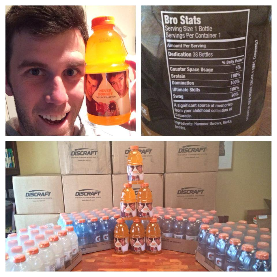 Brodie Smith poses with his custom-labeled Gatorade bottles.