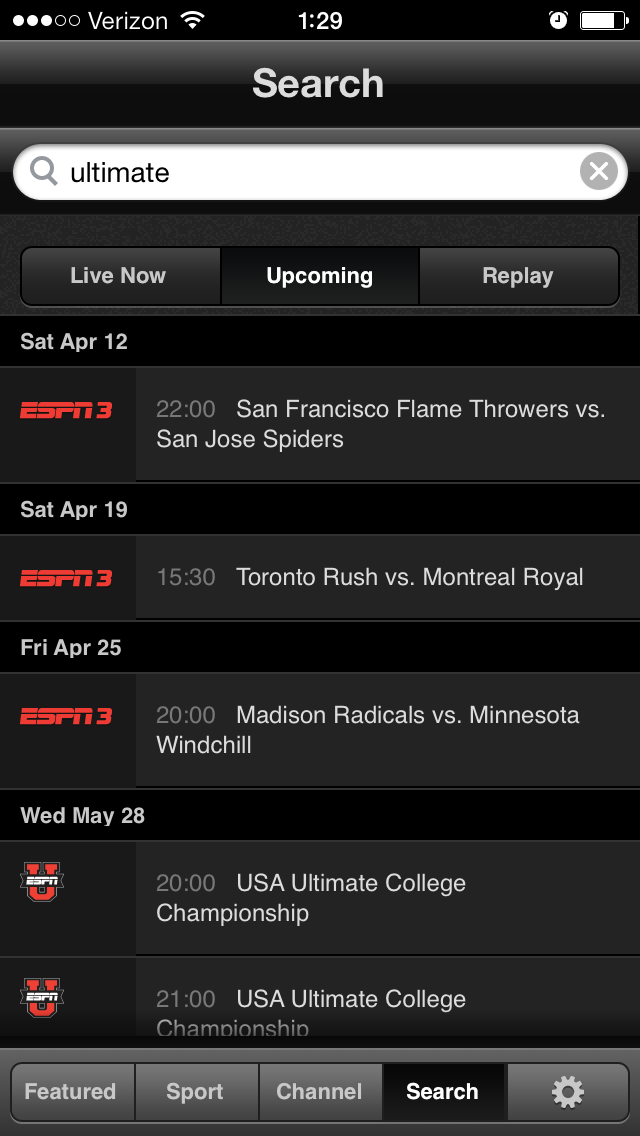 WatchESPN App with AUDL games.