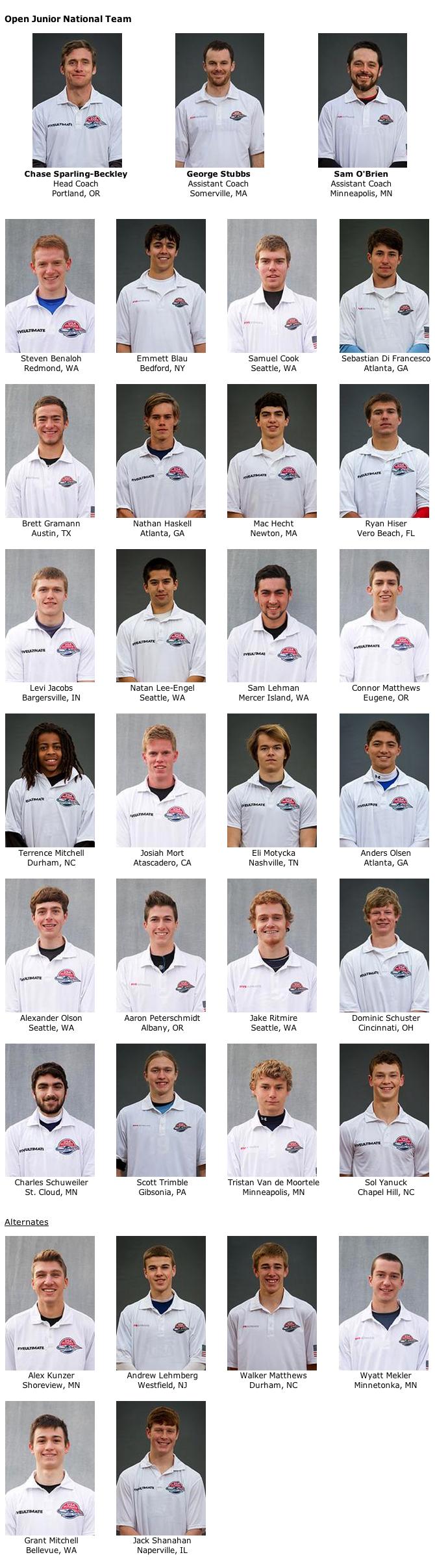 2014 USA Ultimate Boys U19 Team.
