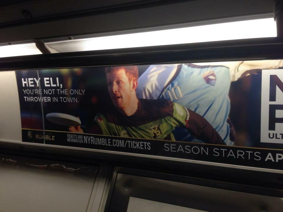 The New York Rumble PATH train ad.