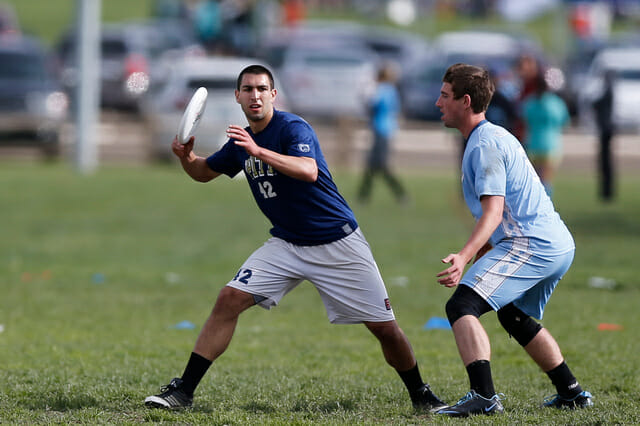 Pittburgh's Marcus Ranii-Dropcho winds up a throw at the 2013 College Championships.
