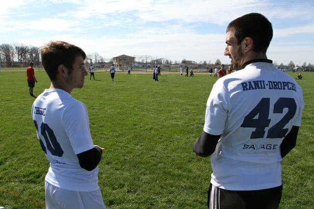 Pittsburgh's Marcus Ranii-Dropcho and Max Thorne on the sideline at 2014 Ohio Valley Regionals.
