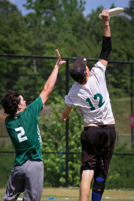 Carolina Friends' Liam Searles-Bohs goes up for the grab in the 2014 High School Southerns Finals.