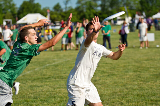 A Carleton player reaches out to make the catch at the 2014 College Championships.