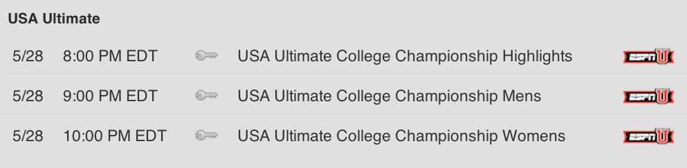 The ESPNU broadcast schedule of the USA Ultimate College Championships.