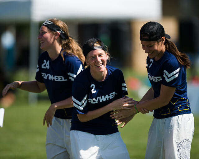 Michigan Flywheel celebrating a score during their upset of UCSB in prequarters at the 2014 College Championships.