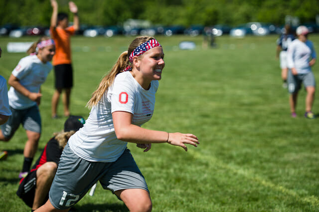 Ohio State's Katie Backus celebrates a win at the College Championships.