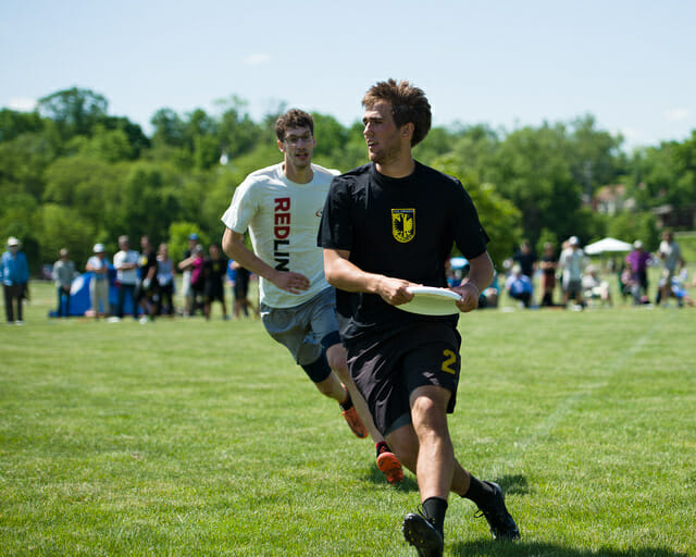 Colorado's Jimmy Mickle catches a strike cut at the 2014 College Championships.