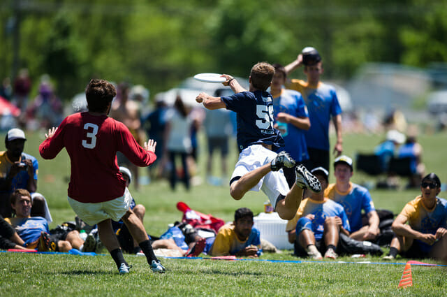 A Pittsburgh player lays out at the 2014 College Championships.