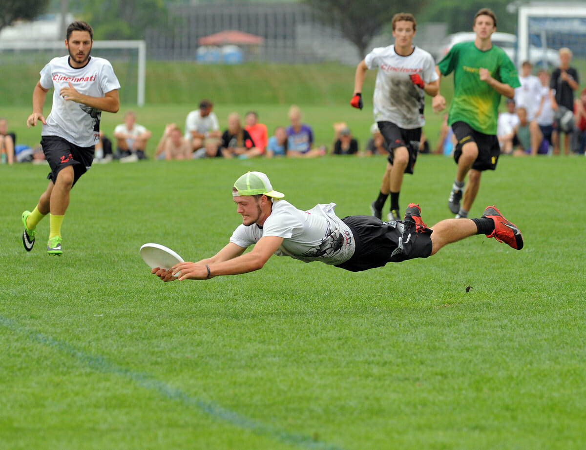 A Cincinnati player lays out in the finals of the 2014 YCC.